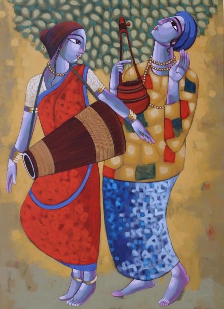 Figurative Acrylic Art Painting title 'Bengali Tune 8' by artist Sekhar Roy