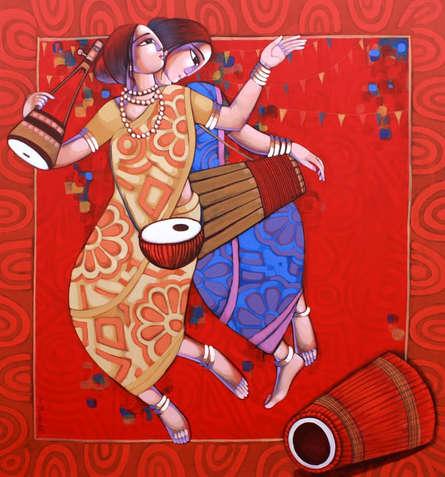 Figurative Acrylic Art Painting title 'Bengali Tune 9' by artist Sekhar Roy
