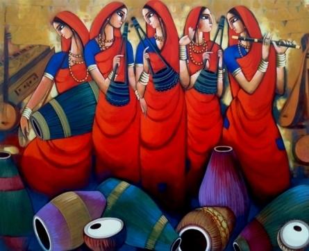 Sekhar Roy Paintings | Acrylic Painting - Folk And Mridanga by artist Sekhar Roy | ArtZolo.com