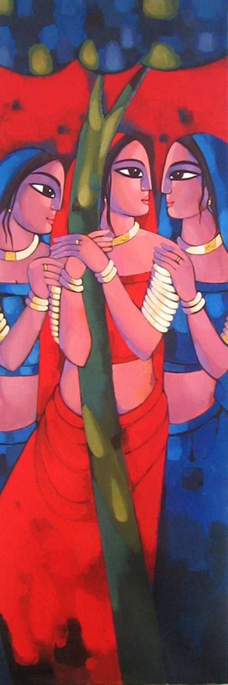 Figurative Acrylic Art Painting title Gopiya by artist Sekhar Roy