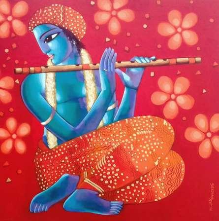 Krishna 6 | Painting by artist Sekhar Roy | acrylic | canvas