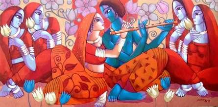 Figurative Acrylic Art Painting title 'Leela' by artist Sekhar Roy