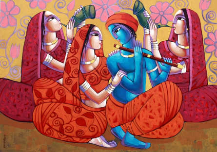 Religious Acrylic Art Painting title 'Symphony Of Love' by artist Sekhar Roy