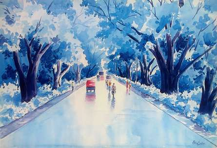Rahul Salve | Watercolor Painting title After A Rain on Paper | Artist Rahul Salve Gallery | ArtZolo.com