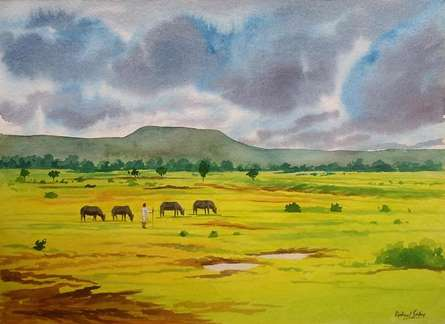 Landscape Watercolor Art Painting title 'Cloudy Day' by artist Rahul Salve