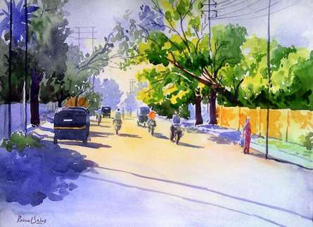 Rahul Salve | Watercolor Painting title Golden Light I on Paper | Artist Rahul Salve Gallery | ArtZolo.com
