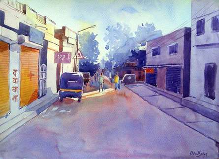 Cityscape Watercolor Art Painting title 'Golden Light II' by artist Rahul Salve