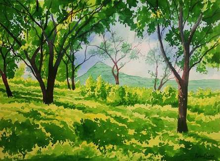 Rahul Salve | Watercolor Painting title Green Peace on Paper | Artist Rahul Salve Gallery | ArtZolo.com