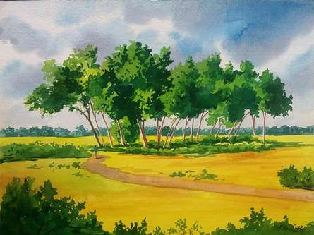 Landscape Watercolor Art Painting title Nature by artist Rahul Salve