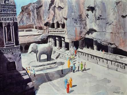 Place Watercolor Art Painting title 'One Fine Day At The Ellora Caves I' by artist Rahul Salve