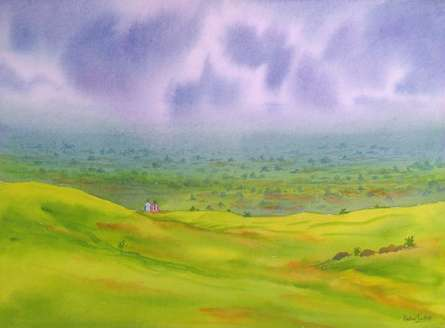 One Fine Day,Mhaismal | Painting by artist Rahul Salve | watercolor | Paper