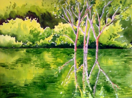 Reflection | Painting by artist Rahul Salve | watercolor | Paper
