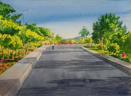 Rahul Salve | Watercolor Painting title Right Turn on Paper | Artist Rahul Salve Gallery | ArtZolo.com