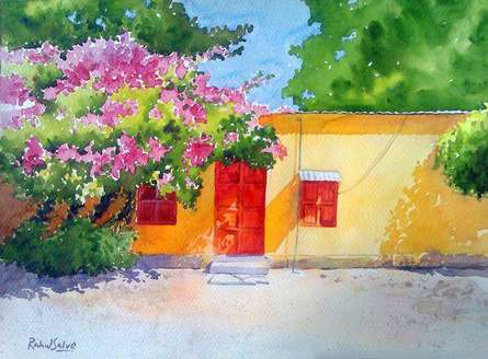 Landscape Watercolor Art Painting title 'Village House' by artist Rahul Salve