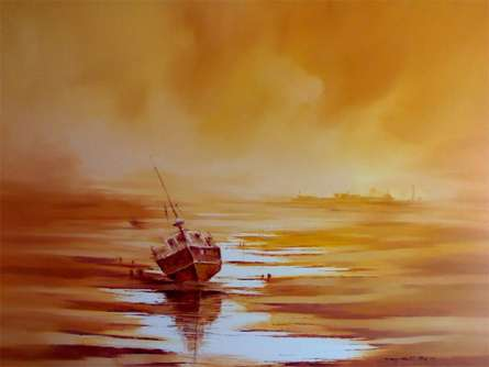 Seascape Oil Art Painting title 'The Boat' by artist Narayan Shelke