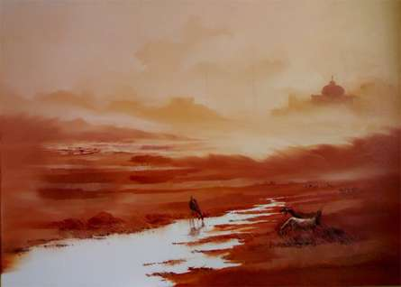 Nature Oil Art Painting title 'Landscape I' by artist Narayan Shelke