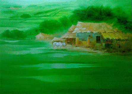 Landscape Oil Art Painting title 'Landscape II' by artist Narayan Shelke