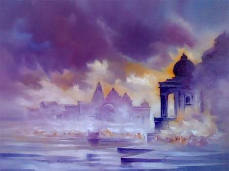 Landscape Oil Art Painting title 'Landscape III' by artist Narayan Shelke