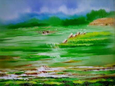 Landscape Oil Art Painting title 'Landscape IV' by artist Narayan Shelke