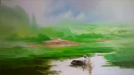 Landscape V | Painting by artist Narayan Shelke | oil | Canvas