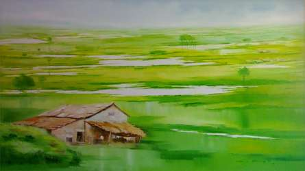 Landscape Oil Art Painting title 'Landscape VII' by artist Narayan Shelke