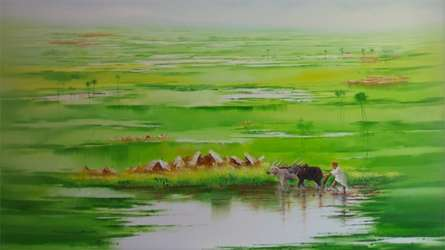 Landscape Oil Art Painting title 'Landscape VIII' by artist Narayan Shelke