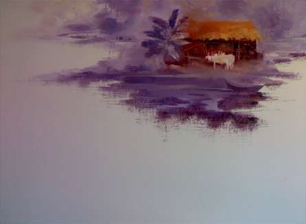 Seascape Oil Art Painting title House by the River by artist Narayan Shelke