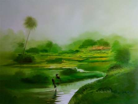 Nature Oil Art Painting title 'Green Nature I' by artist Narayan Shelke