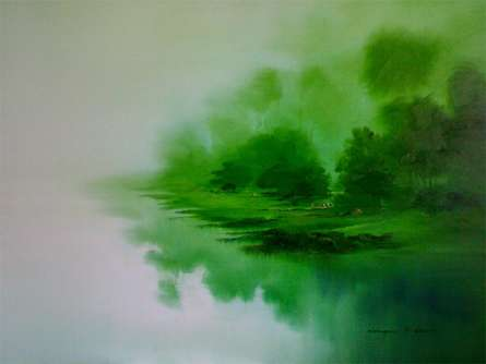 Nature Oil Art Painting title 'Serenity of Nature II' by artist Narayan Shelke