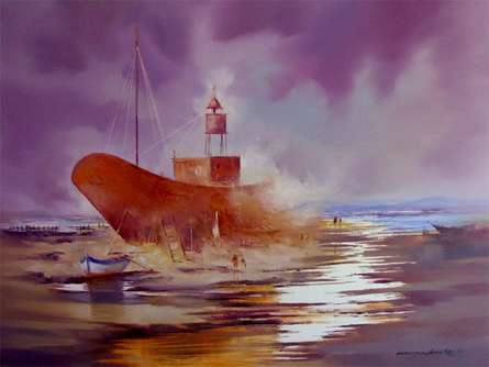 Ship in the River | Painting by artist Narayan Shelke | oil | Canvas