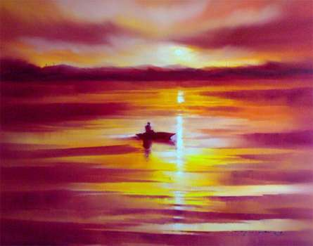 Boat in the Sea | Painting by artist Narayan Shelke | oil | Canvas