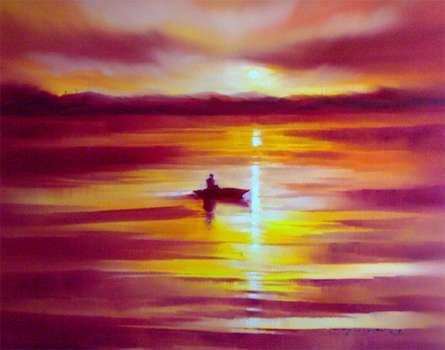 Seascape Oil Art Painting title Boat in the Sea by artist Narayan Shelke