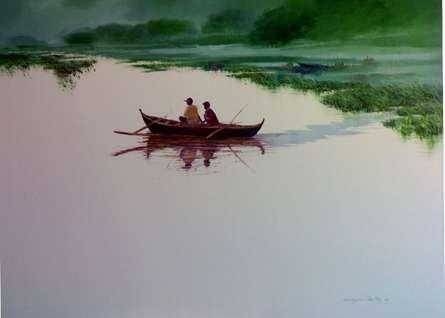 Narayan Shelke | Oil Painting title Fishermen in Boat on Canvas | Artist Narayan Shelke Gallery | ArtZolo.com