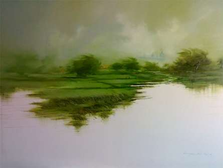 Narayan Shelke | Oil Painting title Green Nature II on Canvas | Artist Narayan Shelke Gallery | ArtZolo.com