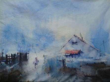 Cityscape Watercolor Art Painting title 'Cityscape I' by artist Narayan Shelke
