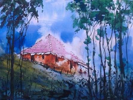 Cityscape Watercolor Art Painting title 'Cityscape II' by artist Narayan Shelke
