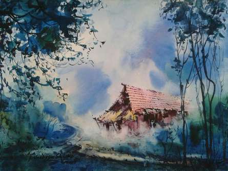Cityscape III | Painting by artist Narayan Shelke | watercolor | Paper