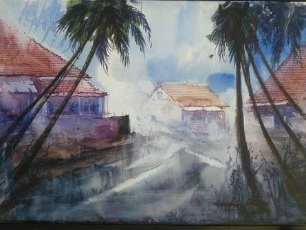 Cityscape Watercolor Art Painting title 'Cityscape IV' by artist Narayan Shelke