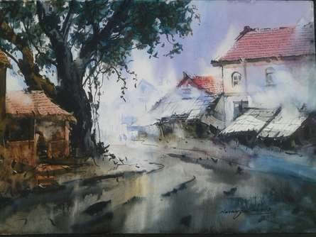 Cityscape VI | Painting by artist Narayan Shelke | watercolor | Paper