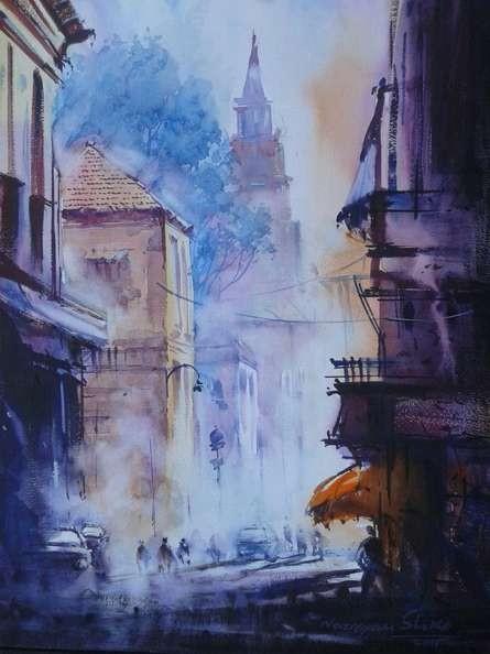 Cityscape Watercolor Art Painting title 'Cityscape V' by artist Narayan Shelke
