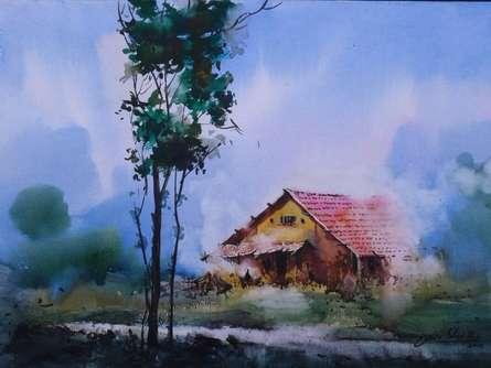 Cityscape Watercolor Art Painting title Cityscape VIII by artist Narayan Shelke