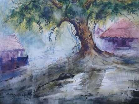 Narayan Shelke | Watercolor Painting title Cityscape IX on Paper | Artist Narayan Shelke Gallery | ArtZolo.com