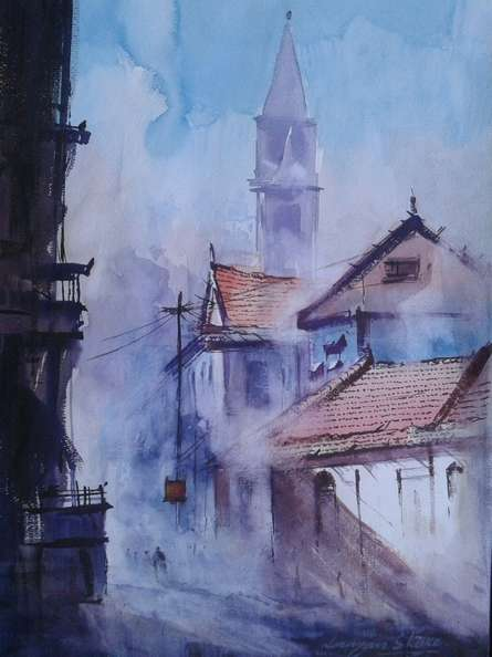 Cityscape X | Painting by artist Narayan Shelke | watercolor | Paper