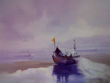 Seascape Oil Art Painting title 'Boat on the Shore I' by artist Narayan Shelke
