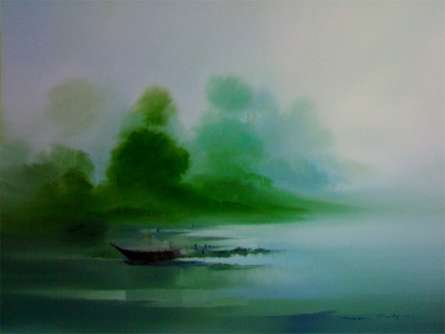 Seascape Oil Art Painting title 'Boat on the Shore II' by artist Narayan Shelke