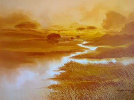 Nature Oil Art Painting title 'Untitled IV' by artist Narayan Shelke