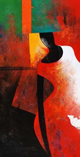 Figurative Acrylic Art Painting title 'The Monk I' by artist Narayan Shelke