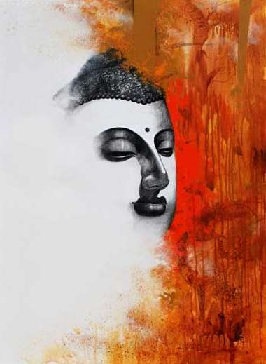 Religious Acrylic Art Painting title 'Buddha II' by artist Narayan Shelke