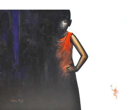 Figurative Acrylic Art Painting title 'The Boy II' by artist Narayan Shelke