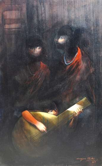 Secret Music | Painting by artist Narayan Shelke | acrylic | Canvas